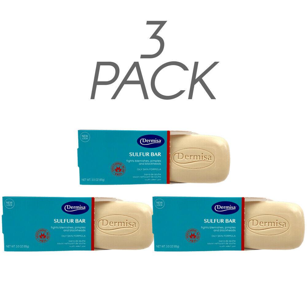 Dermisa Sulfur Bar Soap, Natural Acne & Pimple Skin Treatment. 3Oz. Pack of 3 2