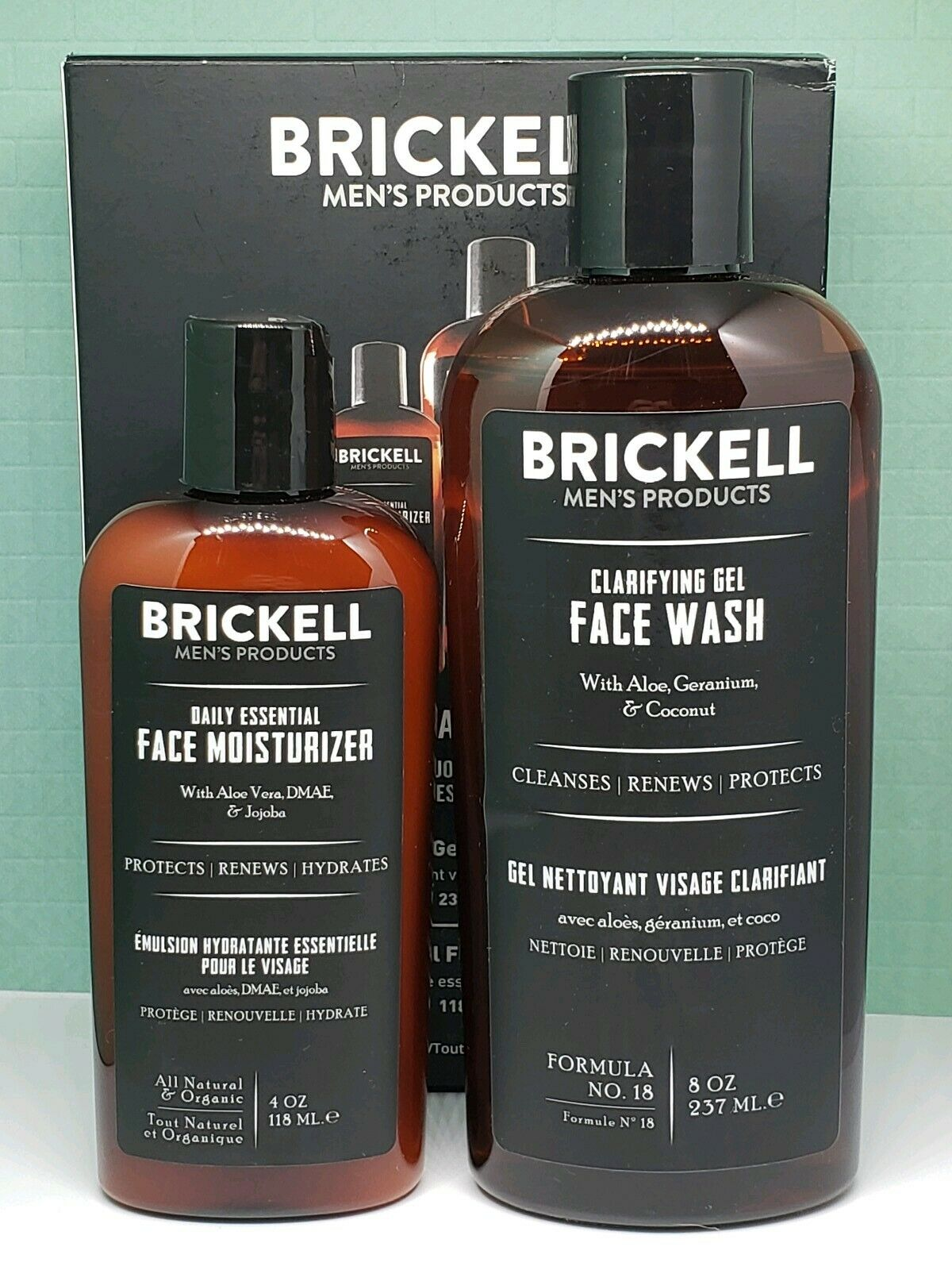 Brickell Men's Daily Essencial Face Care Routine I - FULL SIZE Brand New in Box 2