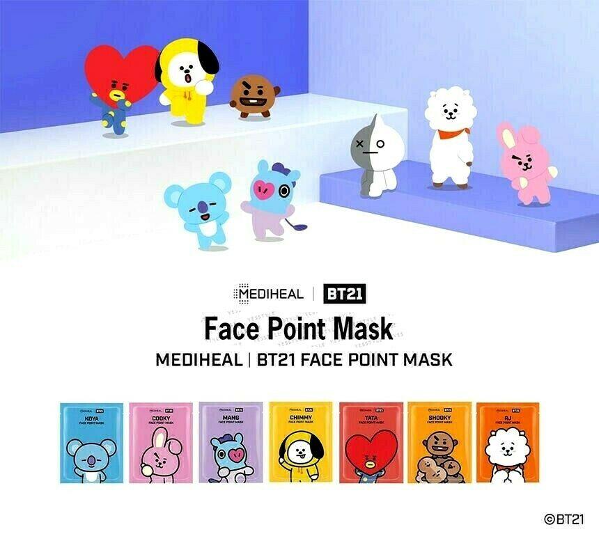 FACE SHEET MASK K-POP BEAUTY MASK  BTS BT21 Face Point Mask 1