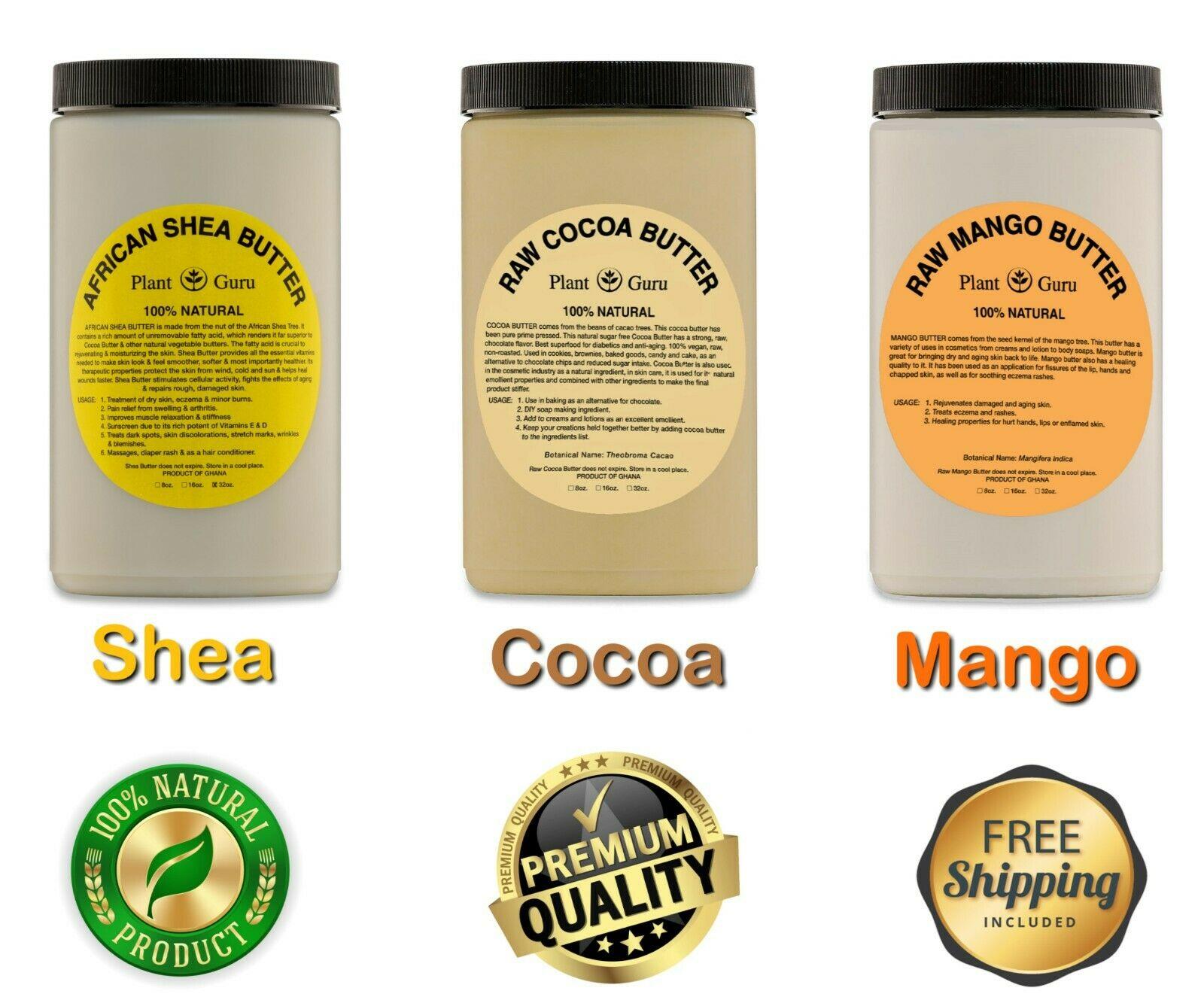 Raw African Shea, Cocoa, Kokum, Mango Butter 100% Pure Organic Unrefined Bulk 1