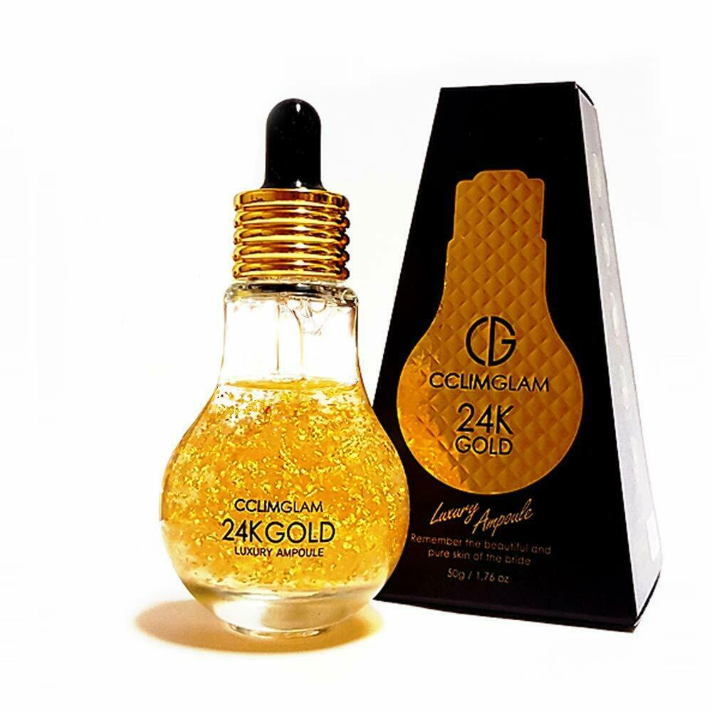 CCLIMGLAM 24K GOLD Luxury Ampoule Facial Serum Moisturizer Skin Care 1.76 fl oz 1
