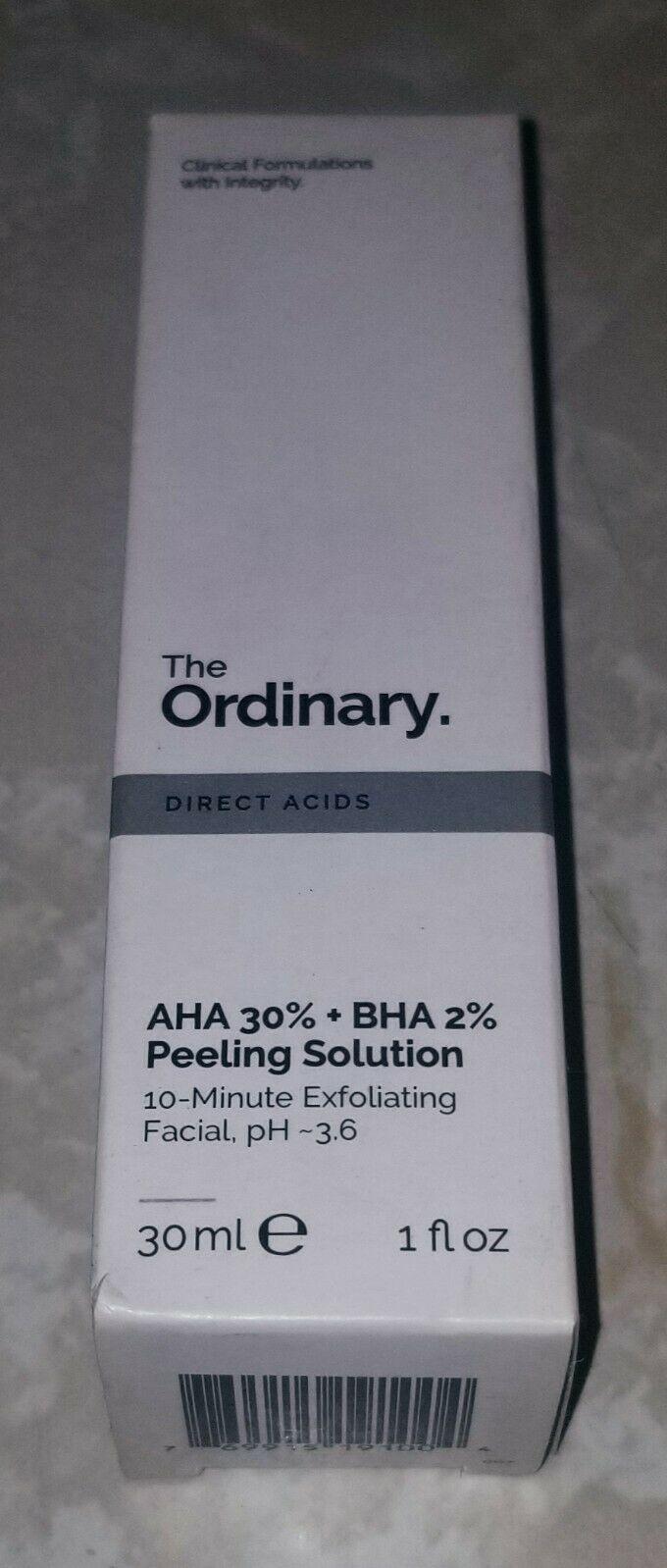 The Ordinary - AHA 30% + BHA 2% Peeling Solution - NIB Authentic 1oz/30ml 1