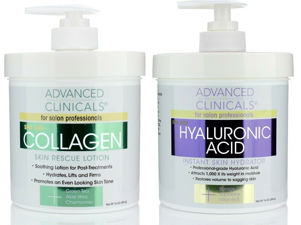 Advanced Clinicals Collagen Cream and Hyaluronic Acid Cream Skin Care Set of 2 1